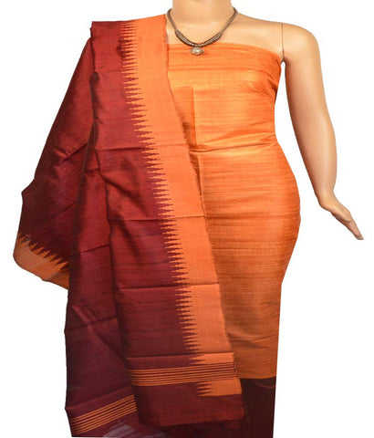 Churidar Material:- Top in  Jute Silk , Duppata in Raw  Silk and  Bottom in  Cotton Silk (Un-stitched)