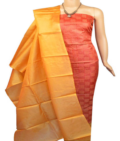 Churidar Material:- Top in  Tussar Silk , Duppata in  Tussar silk   and  Bottom in  Cotton Silk (Un-stitched)-170100337