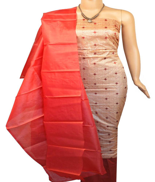 Churidar Material:- Top in  Tussar Silk , Duppata in  Tussar silk   and  Bottom in  Cotton Silk (Un-stitched)-170100340