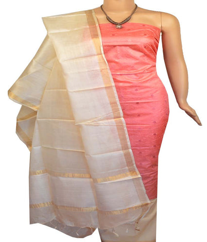 Churidar Material:- Top in  Tussar Silk , Duppata in  Tussar silk   and  Bottom in  Cotton Silk (Un-stitched)-170100341