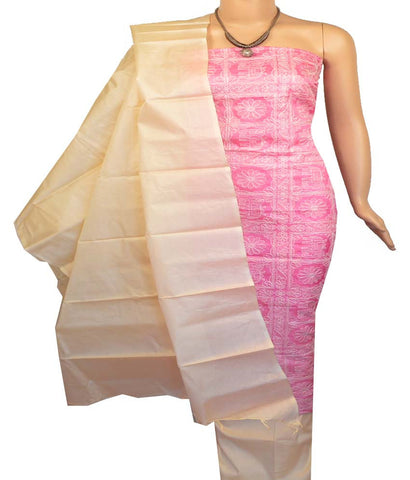 Churidar Material:- Top in  Tussar Silk , Duppata in  Tussar silk   and  Bottom in  Cotton Silk (Un-stitched)-170100343