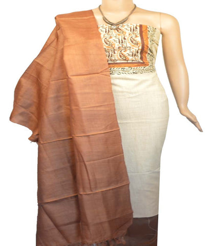 Churidar Material:- Top in   Cotton  , Duppata in  Tussar and  Bottom in  Cotton Silk (Un-stitched)