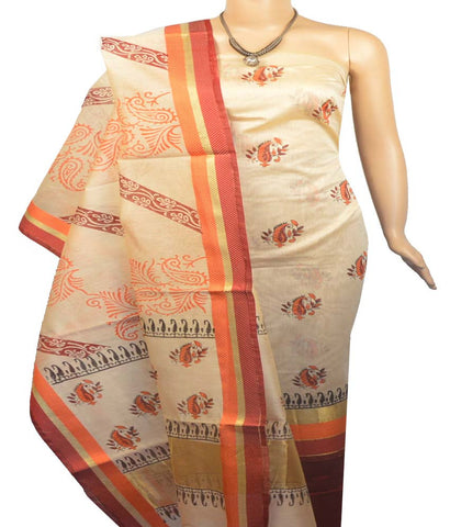 Churidar Material:- Top in   Chandheri Silk , Duppata in Chandheri Silk  and  Bottom in  Cotton Silk (Un-stitched)