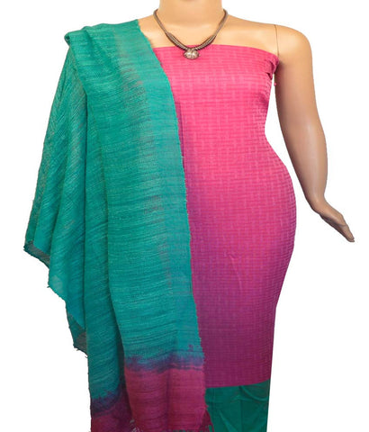 Churidar Material:- Top In Cotton , Duppata in  N et Jute  Silk  and  Bottom in Raw Cotton (Un-stitched)-170100373
