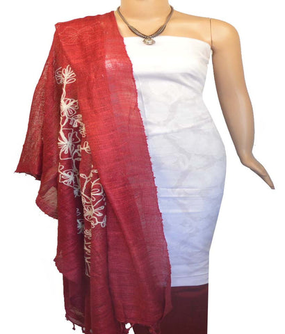 Churidar Material:- Top In Cotton , Duppata in  Net Jute  Silk  and  Bottom in Raw Cotton (Un-stitched)-170100374