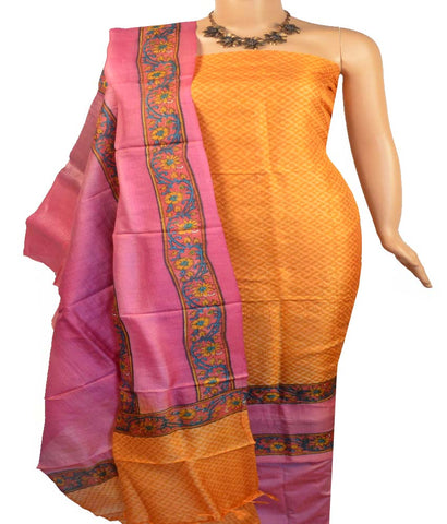 Churidar Material:- Top in Printed  Tussar Silk , Duppata in  Muga silk   and  Bottom in  Cotton Silk (Un-stitched)
