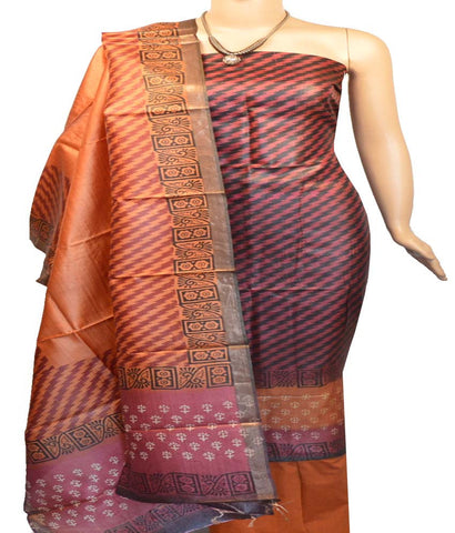 Churidar Material:- Top in   Tussar Silk , Duppata in   Tussar  Silk  and  Bottom in  Cotton Silk (Un-stitched)-170100413