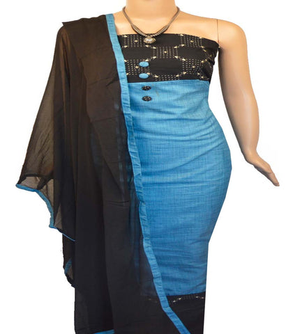 Churidar Material:- Top in   Semi-Jute , Duppata in  Crape  and  Bottom in   Cotton  (Un-stitched)