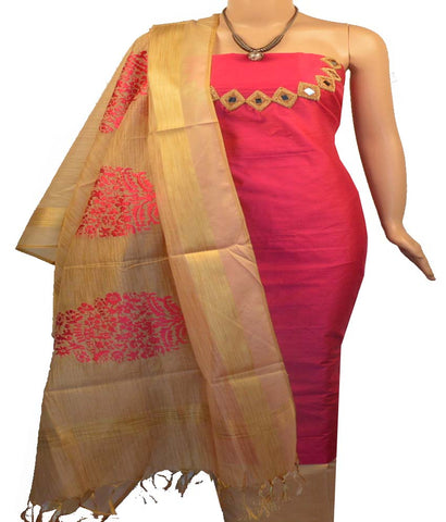 Churidar Material:- Top in  Chanderi , Duppata in  Chanderi and  Bottom in  Cotton Silk   (Un-stitched)