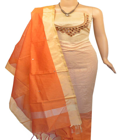 Churidar Material:- Top in  Chandery , Duppata in  Chanderi and  Bottom in  Cotton Silk  (Un-stitched)