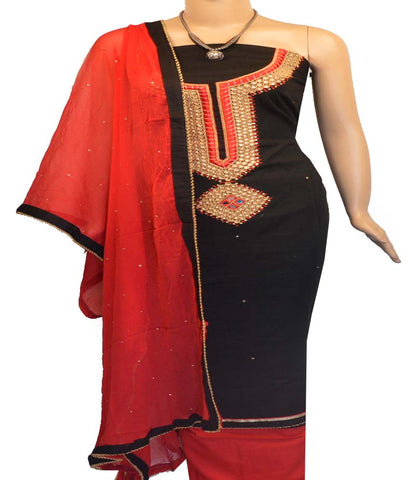 Churidar Material:- Top in   Cotton  , Duppata in  Crape and  Bottom in   Cotton  (Un-stitched)-170100462