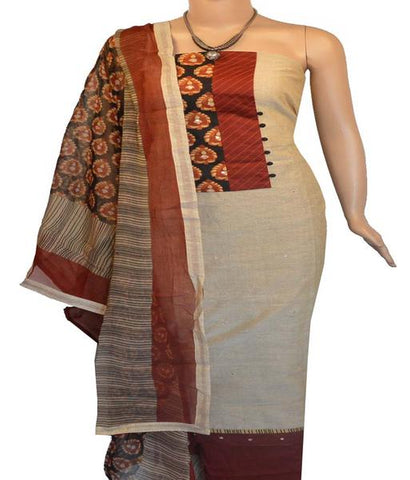 Churidar Material:- Top in   Chanderi  , Duppata in  Crape  and  Bottom in   Cotton  (Un-stitched)