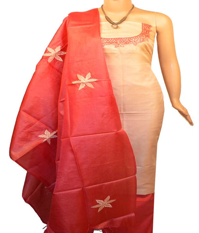 Churidar Material:- Top in   Tussar Silk , Duppata in   Tussar  Silk  and  Bottom in  Cotton Silk (Un-stitched)-170100571