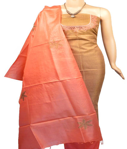 Churidar Material:- Top in   Tussar Silk , Duppata in   Tussar  Silk  and  Bottom in  Cotton Silk (Un-stitched)-170100572