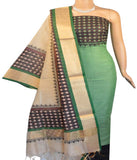 Churidar Material:- Top in   Cotton  , Duppata in  Chanderi and  Bottom in   Cotton Silk (Un-stitched)
