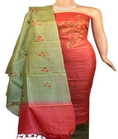 Churidar Material:- Top in   Tussar Silk , Duppata in   Tussar  Silk  and  Bottom in   Cotton Silk (Un-stitched