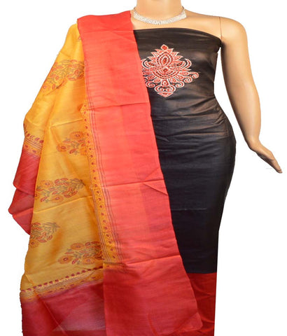 Churidar Material:- Top in   Tussar Silk , Duppata in   Tussar  Silk  and  Bottom in   Cotton Silk (Un-stitched)-170100635