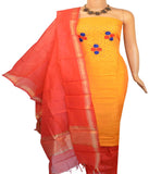 Churidar Material:- Top in   Chanderi  , Duppata in  Chanderi and  Bottom in   Cotton  (Un-stitched)