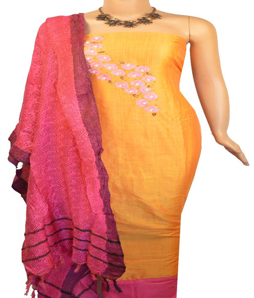 Churidar Material:- Top in   Chanderi  , Duppata in  Pashmina and  Bottom in   Cotton  (Un-stitched)