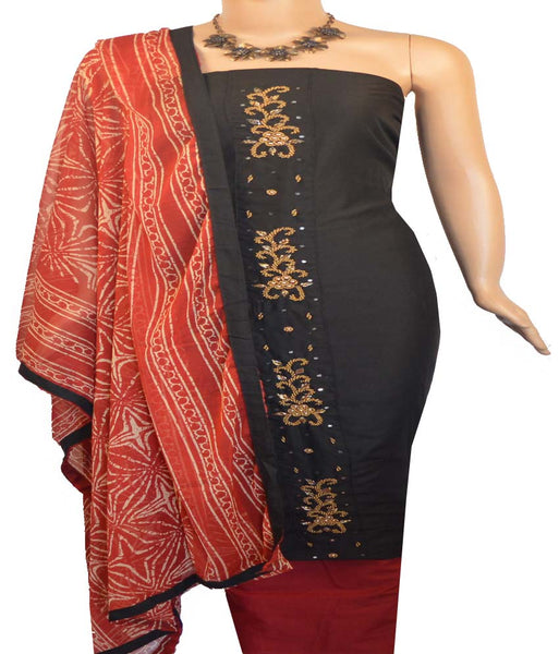 Churidar Material:- Top in   Spun Cotton  , Duppata in Crape and  Bottom in   Cotton  (Un-stitched)