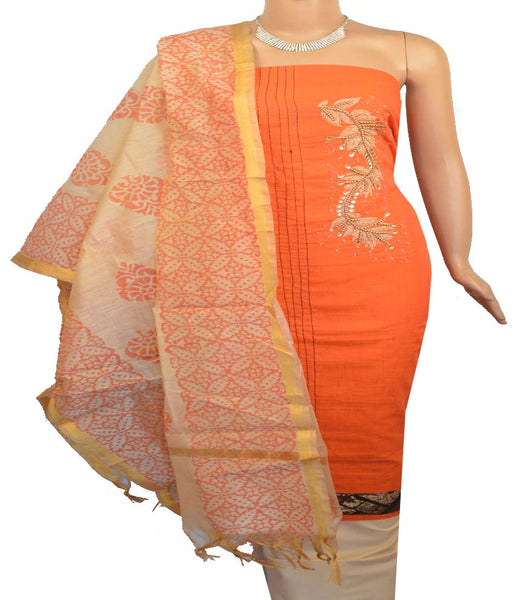 Churidar Material:- Top in   Chanderi   , Duppata in Chanderi  Silk and  Bottom in   Cotton  (Un-stitched)