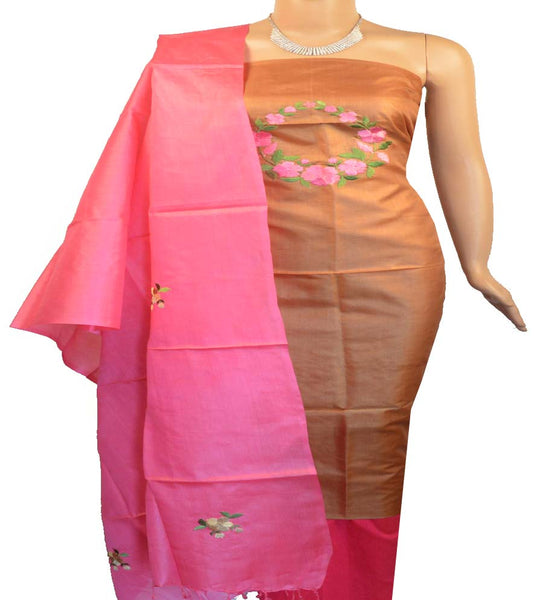 Churidar Material:- Top in   Tussar Silk , Duppata in   Tussar  Silk  and  Bottom in  Cotton Silk (Un-stitched) -180100189