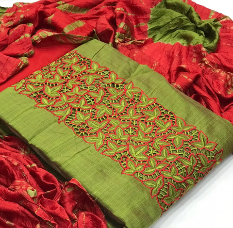churidar material- Tpo Chanderi Silk ,duppatta cotton silk,bottom cotton-190100288A