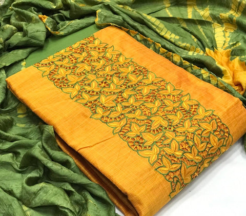 churidar material- Tpo Chanderi Silk ,duppatta cotton silk,bottom cotton-190100288B