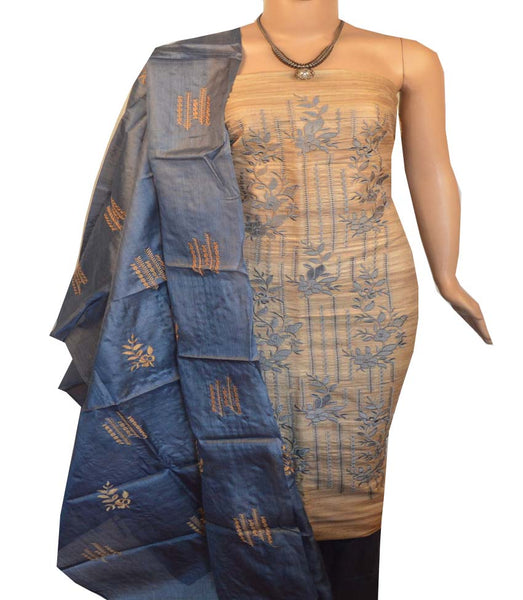 Churidar Material:- Top in   Tussar silk  , Duppata in Tussar  Silk and  Bottom in   Cotton Silk (Un-stitched) -190100141