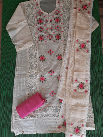 Churidar-Top  chanderi silk with embroidery work and duppatta netwith embroidery, bottom cotton (unstiched)-190100384