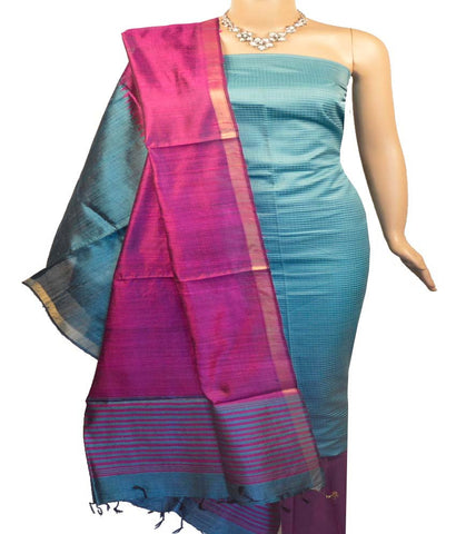 Churidar Material:- Top in Tussar Silk   , Duppata in Raw Silk  and  Bottom in  Cotton Silk (Un-stitched)