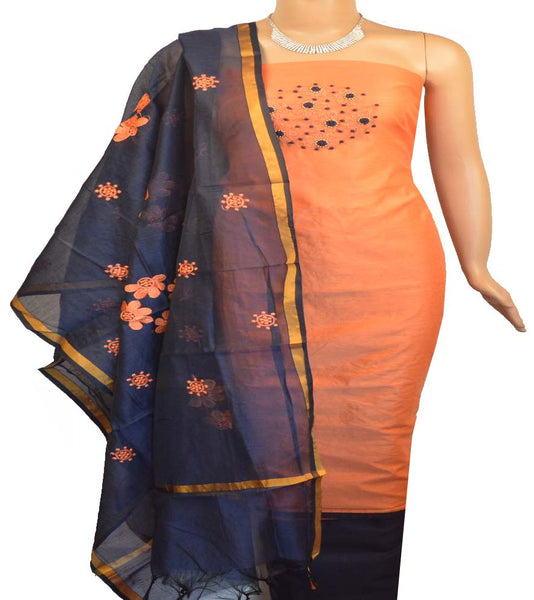 Churidar Material:- Top In Chanderi  , Duppata in Chanderi and  Bottom in  Cotton  (Un-stitched)-180100211