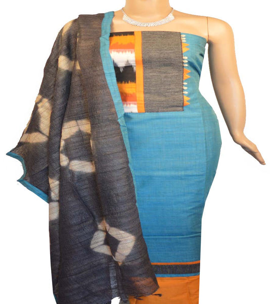 Churidar Material:- Top In Chanderi  , Duppata in Jute and  Bottom in  Cotton  (Un-stitched)-180100215