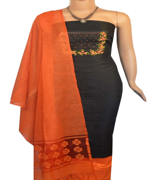 Churidar Material:- Top in Raw Silk Duppata in Noeil Silk and  Bottom in   Cotton Silk (Un-stitched) -190100005