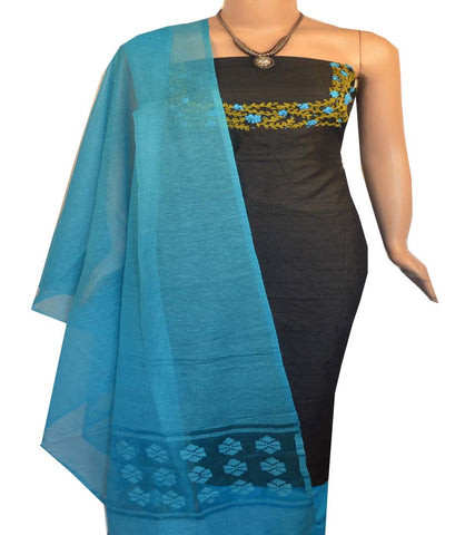 Churidar Material:- Top in Raw Silk Duppata in Noeil Silk and  Bottom in   Cotton Silk (Un-stitched) -190100006