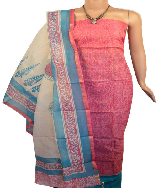 Churidar Material:- Top in   Chanderi  Silk , Duppata in Chanderi and  Bottom in   Cotton  (Un-stitched) -190100123