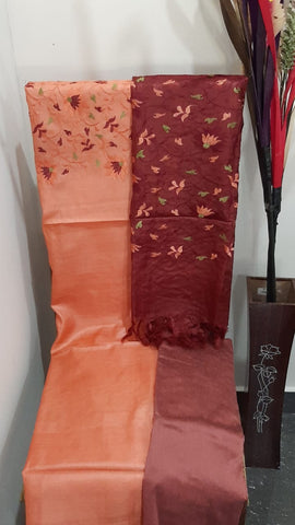 Churidar Material:- Top in   Tussar silk  , Duppata in Tussar  Silk and  Bottom in   Cotton Silk (Un-stitched) -190100316