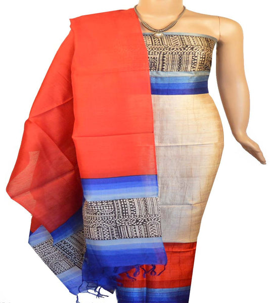 Churidar Material:- Top in  Printed Raw Silk , Duppata in  Raw Silk and  Bottom in  Raw Silk (Un-stitched)-160100260 - HAMALSTAR - 1