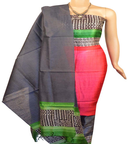Churidar Material:- Top in  Printed Raw Silk , Duppata in  Raw Silk and  Bottom in  Raw Silk (Un-stitched)-160100269 - HAMALSTAR - 1