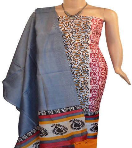 Churidar Material:- Top in Printed Raw Silk , Duppata in  Printed Raw Silk   and  Bottom in  Cotton Silk (Un-stitched)
