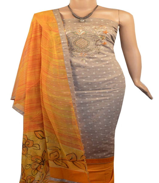 Churidar Material:- Top in   Cotton   , Duppata in Crape and  Bottom in   Cotton  (Un-stitched)-190100125