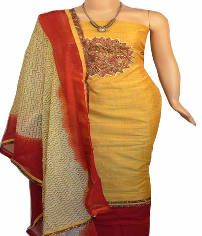 Churidar Material:- Top in   Chanderi  , Duppata in  Crape and  Bottom in   Cotton  (Un-stitched) - 170100648