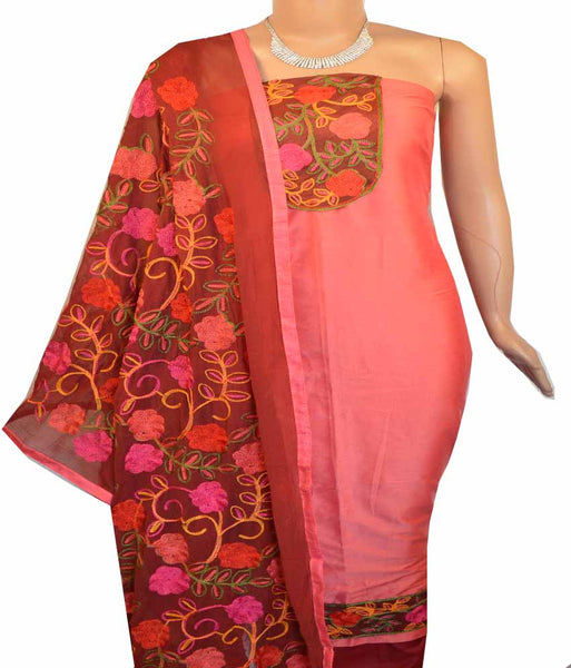 Churidar Material:- Top in    Cotton Silk , Duppata in Chiffon and  Bottom in   Cotton (Un-stitched) -180100358
