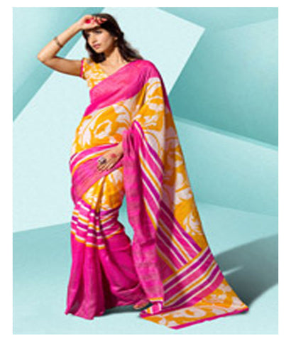 Yellow and Fuchsia Art Silk Saree with Blouse - 140500031 - HAMALSTAR - 1
