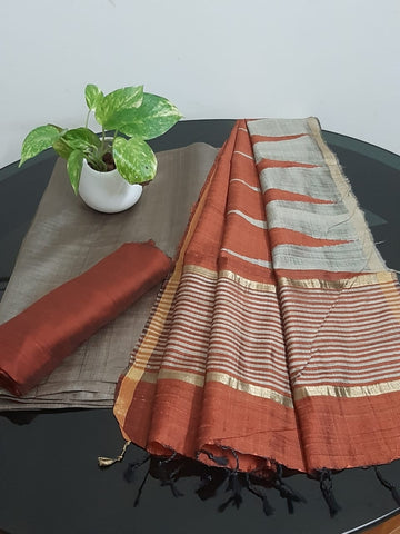 Churidar Material:-Top In Tussar Silk  Duppata in Raw Silk and  Bottom in   Cotton Silk (Un-stitched) -190100345