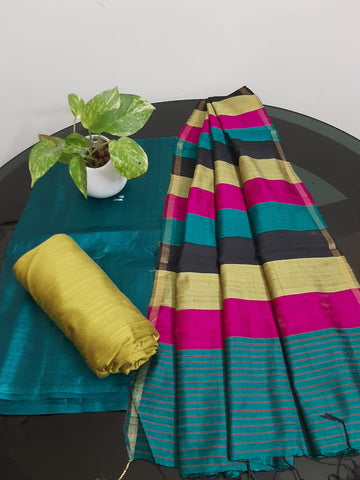 Churidar Material:-Top In Tussar Silk  Duppata in Raw Silk and  Bottom in   Cotton Silk (Un-stitched) -190100347