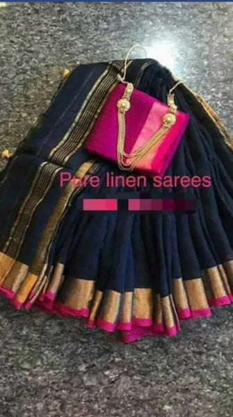 PURE LINEN SAREE - 190500012