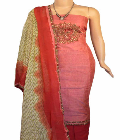 Churidar Material:- Top in   Chanderi  , Duppata in  Crape and  Bottom in   Cotton  (Un-stitched) - 170100647