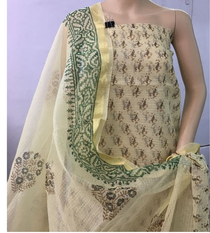 Churidar Material:- Top in   cotta  , Duppata in cotta and  Bottom in   Cotton  (Un-stitched) -190100215
