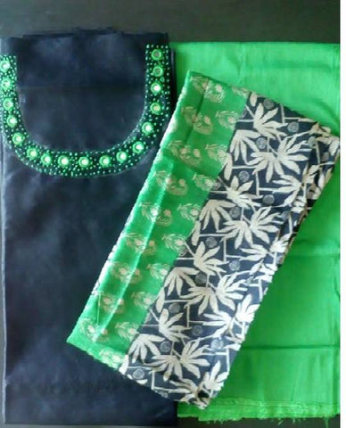 Churidar Material:- Top in Raw Silk, Duppata in Jute Silk, and Bottom In Raw Cotton(unstiched)-170100028